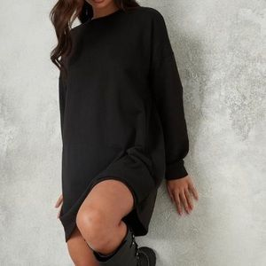 Oak + Fort Black Long Sleeve Sweater Dress MED